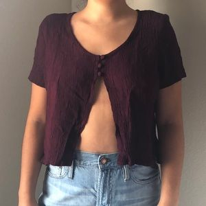 Teddi Petite Vintage Maroon Button Crop Top Sz M